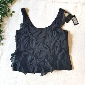 Emporio Armani | S 42 | Black Ruffle Swirl Blouse